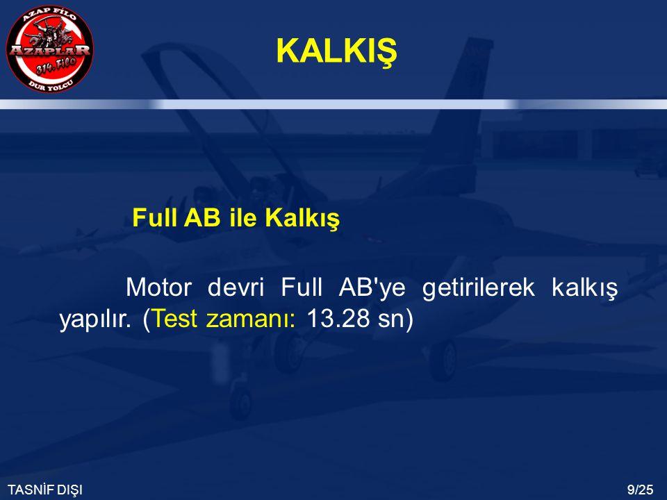 KALKIŞ TASNİF DIŞI9/25 Motor devri Full AB'ye getirilerek kalkış yapılır. (Test zamanı: 13.28 sn) Full AB ile Kalkış