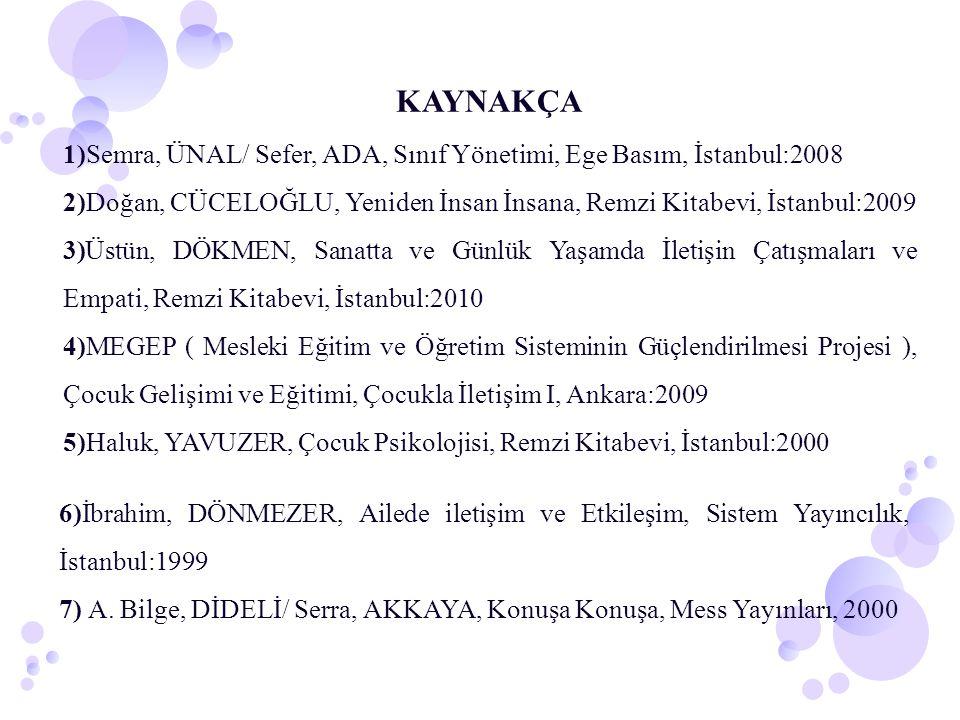 KAYNAKÇA 1)Semra, ÜNAL/ Sefer, ADA, Sınıf Yönetimi, Ege Basım, İstanbul:2008 2)Doğan, CÜCELOĞLU, Yeniden İnsan İnsana, Remzi Kitabevi, İstanbul:2009 3