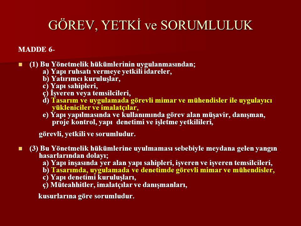 GÖREV, YETKİ ve SORUMLULUK MADDE 6-  Bu Yönetmelik hükümlerinin uygulanmasından;  (1) Bu Yönetmelik hükümlerinin uygulanmasından; a) Yapı ruhsatı ve
