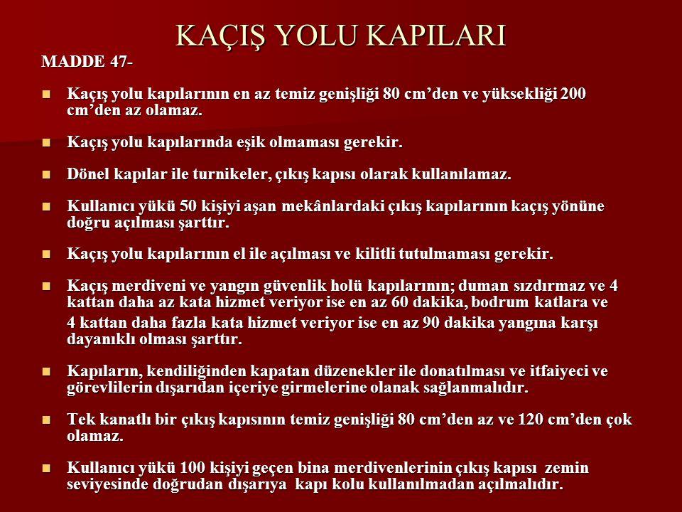 KAÇIŞ YOLU KAPILARI MADDE 47-  Kaçış yolu kapılarının en az temiz genişliği 80 cm'den ve yüksekliği 200 cm'den az olamaz.
