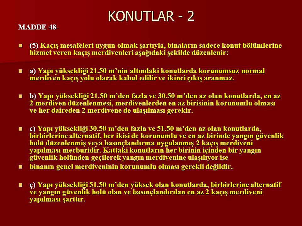 KONUTLAR - 2 MADDE 48-  (5) Kaçış mesafeleri uygun olmak şartıyla, binaların sadece konut bölümlerine hizmet veren kaçış merdivenleri aşağıdaki şekil