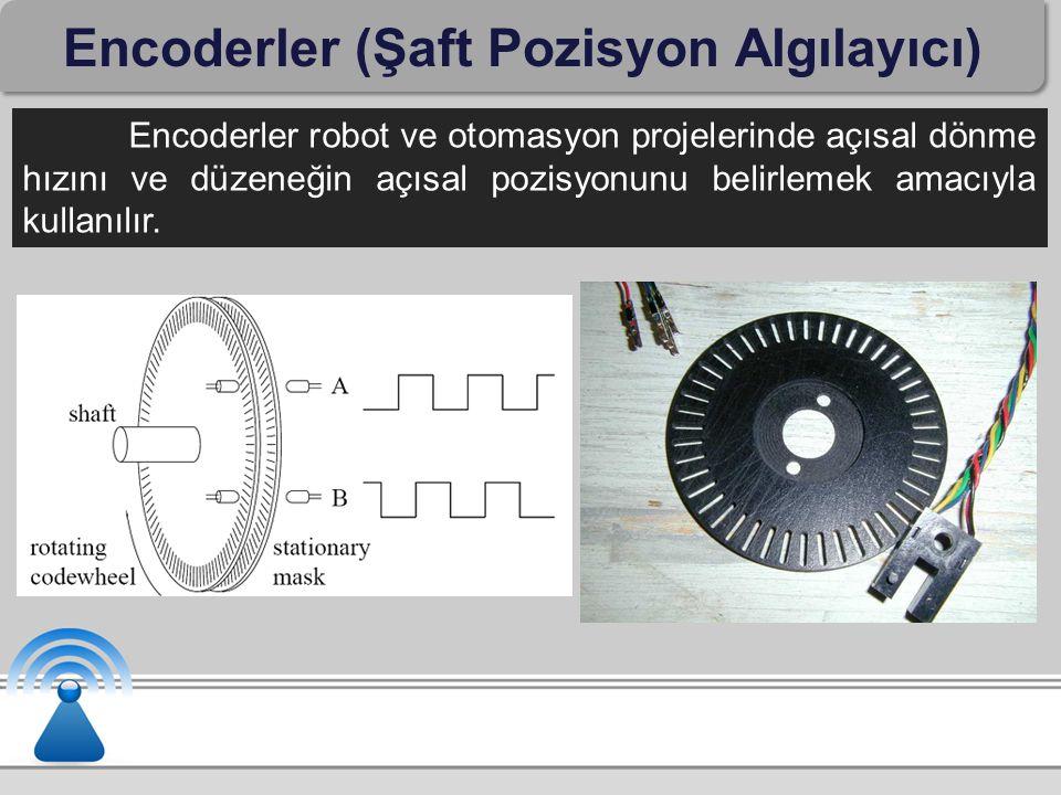 Encoderler (Şaft Pozisyon Algılayıcı) Encoderler robot ve otomasyon projelerinde açısal dönme hızını ve düzeneğin açısal pozisyonunu belirlemek amacıy