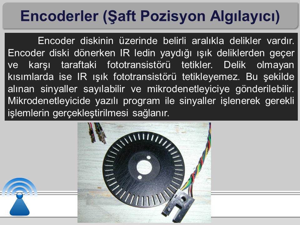 Encoderler (Şaft Pozisyon Algılayıcı) Encoder diskinin üzerinde belirli aralıkla delikler vardır. Encoder diski dönerken IR ledin yaydığı ışık delikle