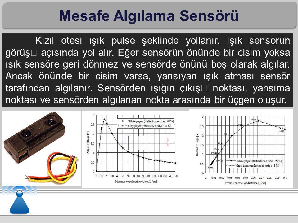 Mesafe Algılama Sensörü Kızıl ötesi ışık pulse şeklinde yollanır. Işık sensörün görüş açısında yol alır. Eğer sensörün önünde bir cisim yoksa ışık sen