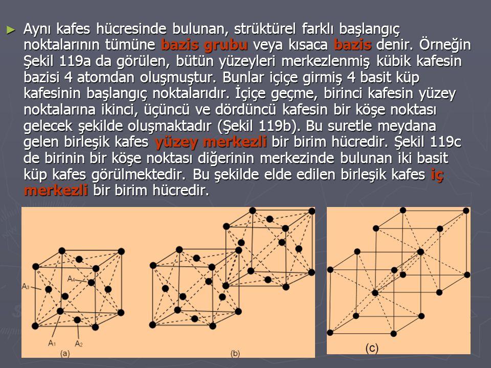 ► Aynı kafes hücresinde bulunan, strüktürel farklı başlangıç noktalarının tümüne bazis grubu veya kısaca bazis denir.