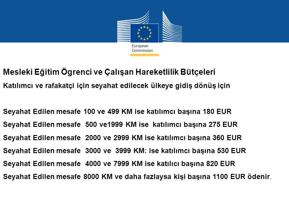 Mesleki Eğitim Ögrenci ve Çalışan Hareketlilik Bütçeleri Katılımcı ve rafakatçi için seyahat edilecek ülkeye gidiş dönüş için Seyahat Edilen mesafe 100 ve 499 KM ise katılımcı başına 180 EUR Seyahat Edilen mesafe 500 ve1999 KM ise katılımcı başına 275 EUR Seyahat Edilen mesafe 2000 ve 2999 KM ise katılımcı başına 360 EUR Seyahat Edilen mesafe 3000 ve 3999 KM: ise katılımcı başına 530 EUR Seyahat Edilen mesafe 4000 ve 7999 KM ise katılıcı başına 820 EUR Seyahat Edilen mesafe 8000 KM ve daha fazlaysa kişi başına 1100 EUR ödenir.