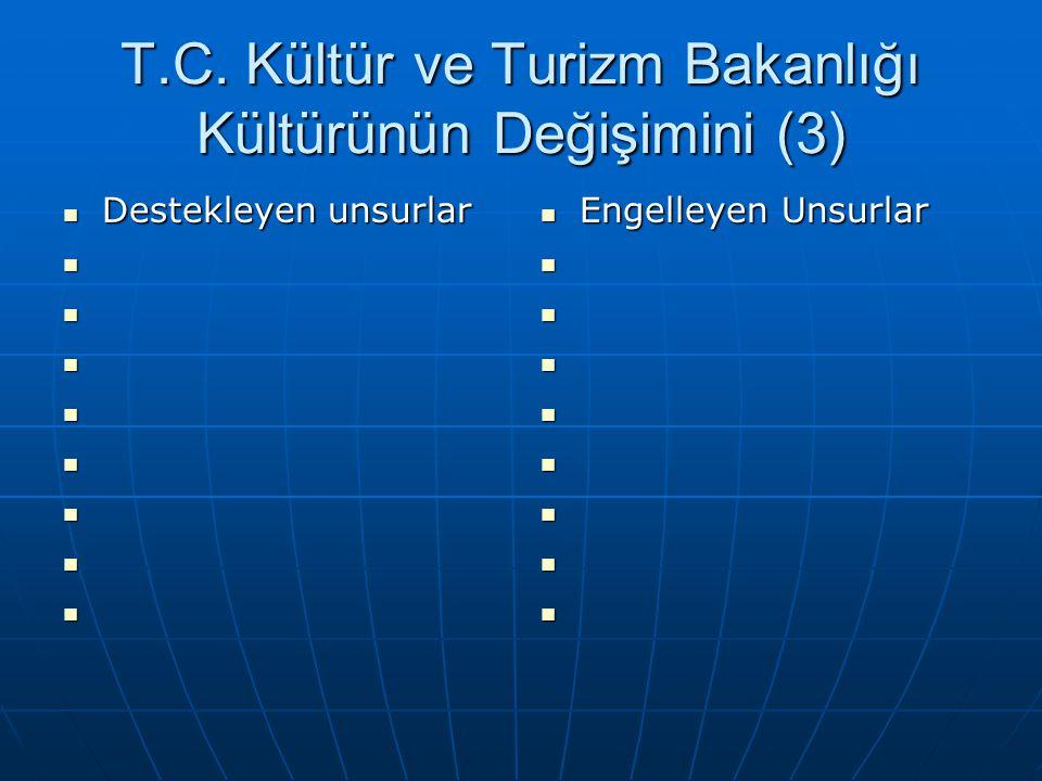 T.C. Kültür ve Turizm Bakanlığı Kültürünün Değişimini (3)  Destekleyen unsurlar          Engelleyen Unsurlar        