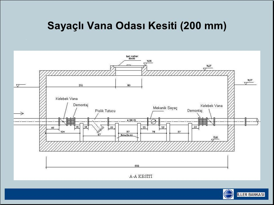 Sayaçlı Vana Odası Kesiti (200 mm)