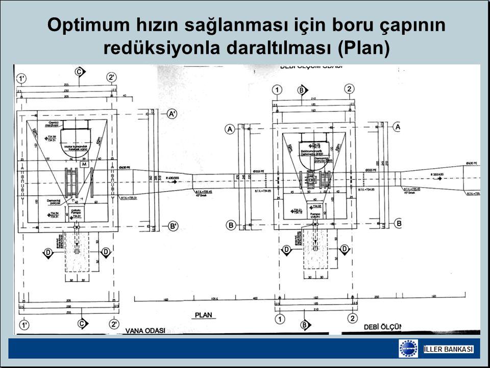 Optimum hızın sağlanması için boru çapının redüksiyonla daraltılması (Plan)