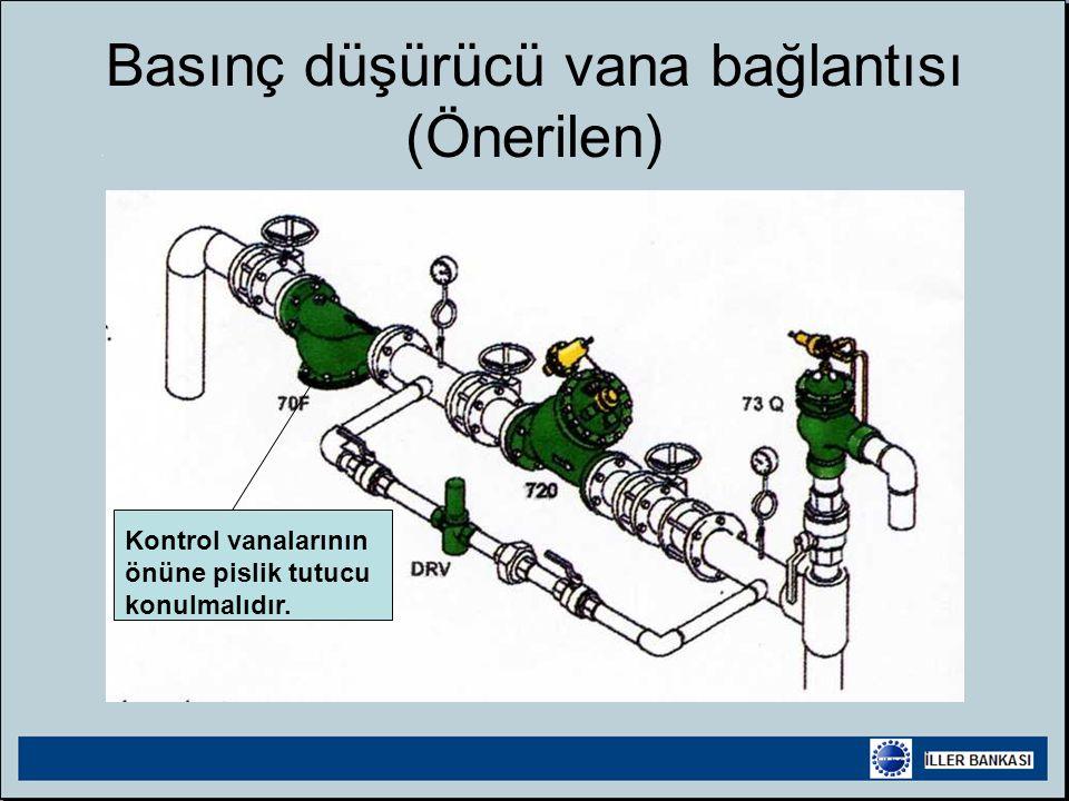 Basınç düşürücü vana bağlantısı (Önerilen) Kontrol vanalarının önüne pislik tutucu konulmalıdır.