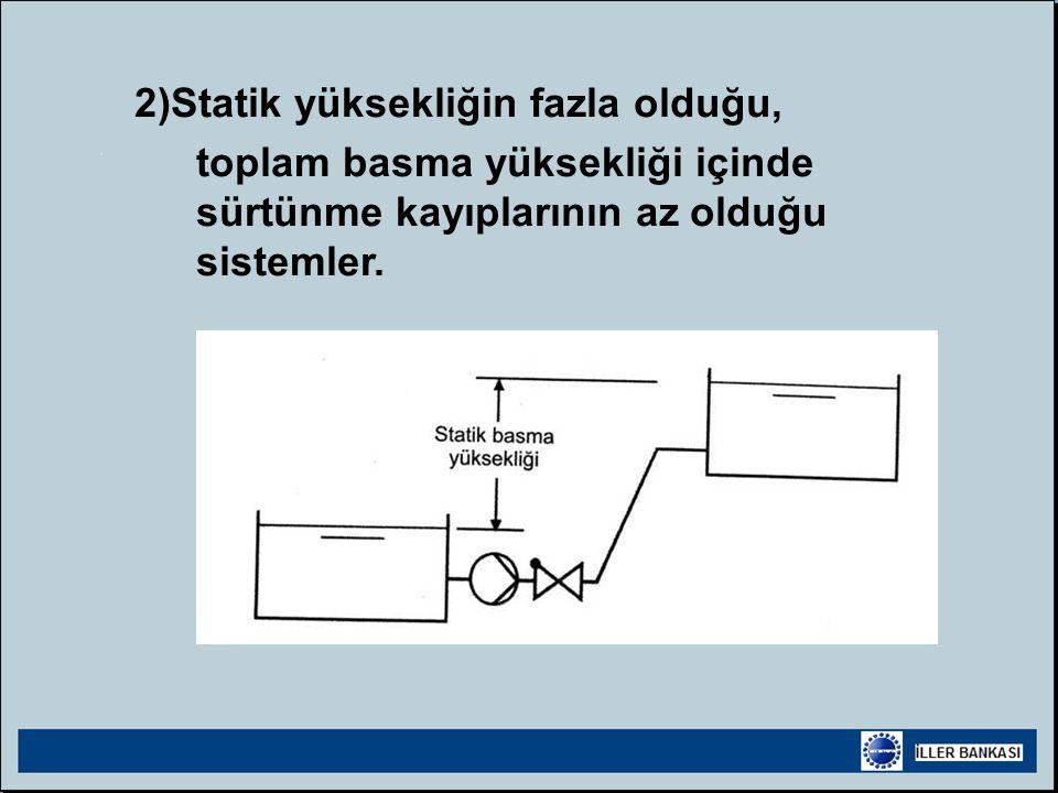 2)Statik yüksekliğin fazla olduğu, toplam basma yüksekliği içinde sürtünme kayıplarının az olduğu sistemler.