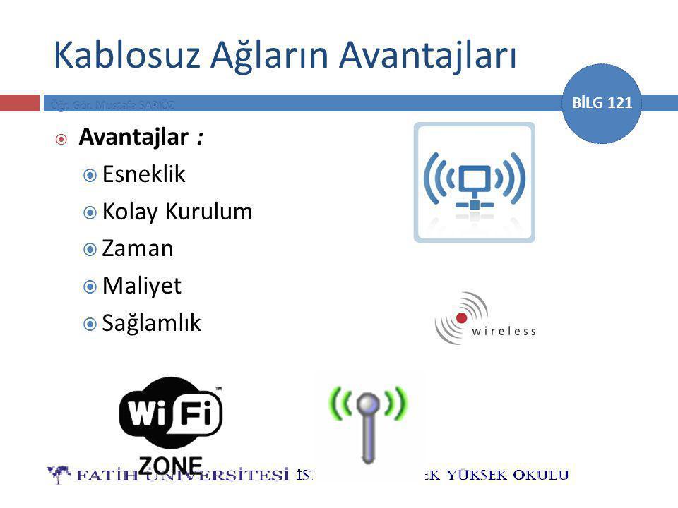 BİLG 121 Kablosuz Ağların Avantajları  Avantajlar :  Esneklik  Kolay Kurulum  Zaman  Maliyet  Sağlamlık