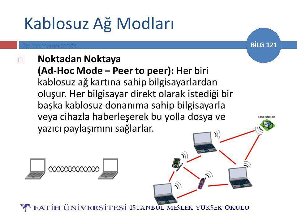BİLG 121 Kablosuz Ağ Modları  Noktadan Noktaya (Ad-Hoc Mode – Peer to peer): Her biri kablosuz ağ kartına sahip bilgisayarlardan oluşur.