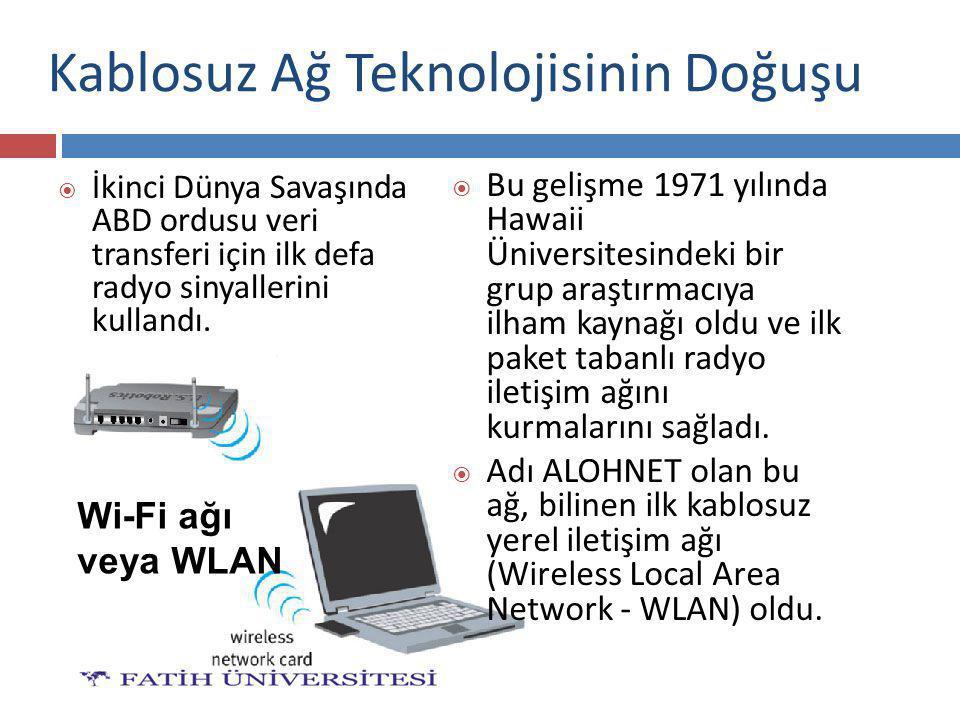 Kablosuz Ağ Teknolojisinin Doğuşu  İkinci Dünya Savaşında ABD ordusu veri transferi için ilk defa radyo sinyallerini kullandı.  Bu gelişme 1971 yılı