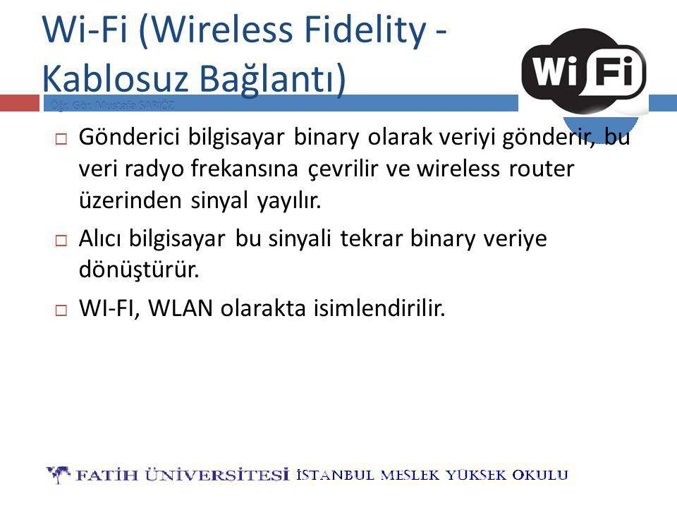 BİLG 121 Wi-Fi (Wireless Fidelity - Kablosuz Bağlantı)  Gönderici bilgisayar binary olarak veriyi gönderir, bu veri radyo frekansına çevrilir ve wireless router üzerinden sinyal yayılır.
