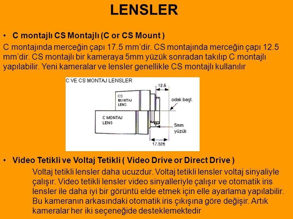 • C montajlı CS Montajlı (C or CS Mount ) C montajında merceğin çapı 17.5 mm'dir. CS montajında merceğin çapı 12.5 mm'dir. CS montajlı bir kameraya 5m