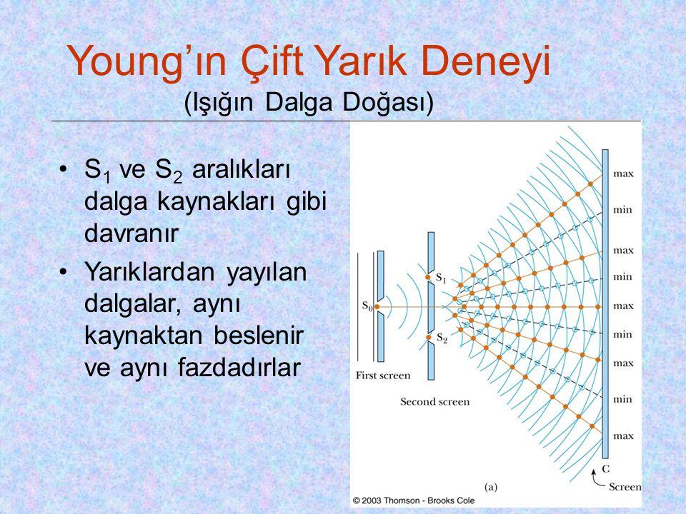 Young'ın Çift Yarık Deneyi (Işığın Dalga Doğası) •S 1 ve S 2 aralıkları dalga kaynakları gibi davranır •Yarıklardan yayılan dalgalar, aynı kaynaktan b