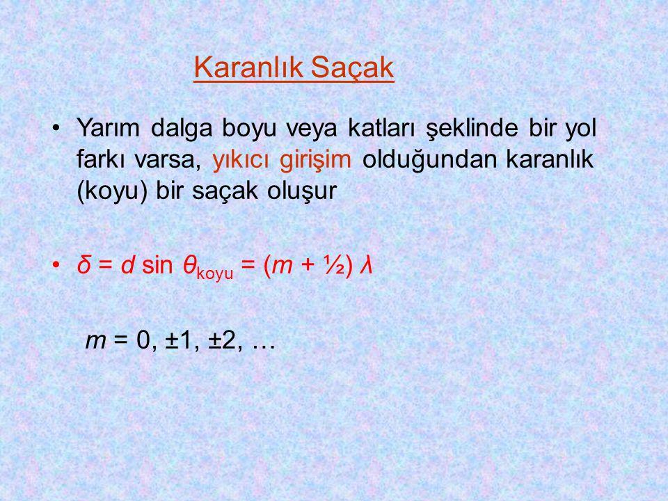 •Yarım dalga boyu veya katları şeklinde bir yol farkı varsa, yıkıcı girişim olduğundan karanlık (koyu) bir saçak oluşur •δ = d sin θ koyu = (m + ½) λ