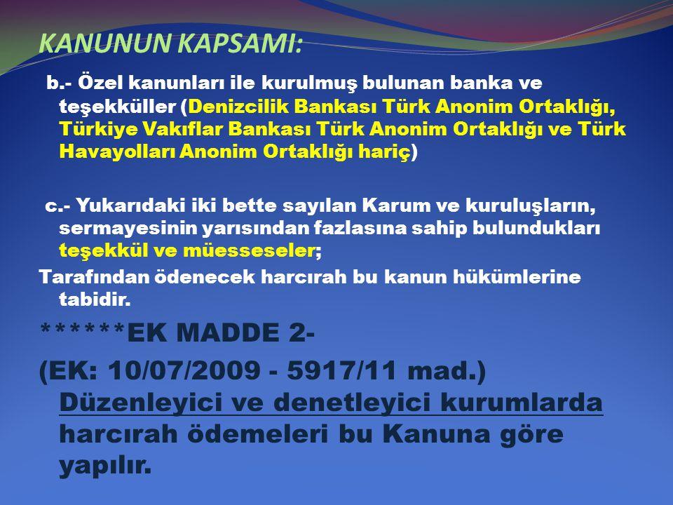KANUNUN KAPSAMI: b.- Özel kanunları ile kurulmuş bulunan banka ve teşekküller (Denizcilik Bankası Türk Anonim Ortaklığı, Türkiye Vakıflar Bankası Türk