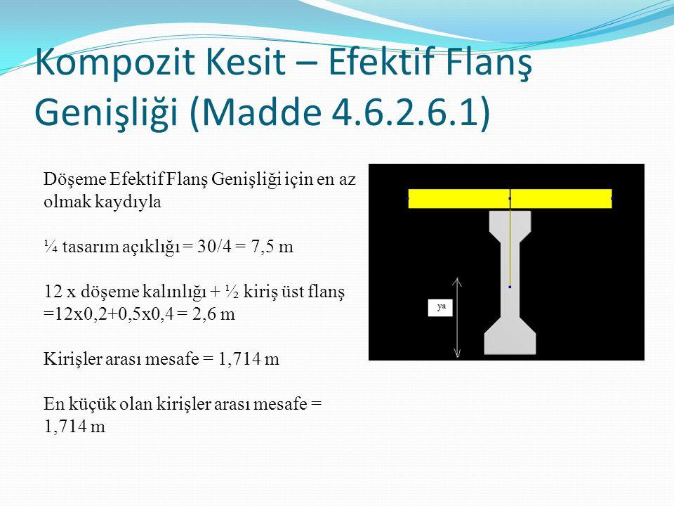 Kompozit Kesit – Efektif Flanş Genişliği (Madde 4.6.2.6.1) Döşeme Efektif Flanş Genişliği için en az olmak kaydıyla ¼ tasarım açıklığı = 30/4 = 7,5 m 12 x döşeme kalınlığı + ½ kiriş üst flanş =12x0,2+0,5x0,4 = 2,6 m Kirişler arası mesafe = 1,714 m En küçük olan kirişler arası mesafe = 1,714 m