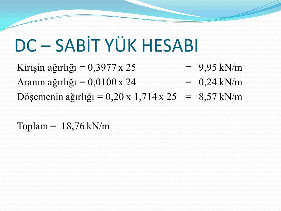 DC – SABİT YÜK HESABI Kirişin ağırlığı = 0,3977 x 25 = 9,95 kN/m Aranın ağırlığı = 0,0100 x 24 = 0,24 kN/m Döşemenin ağırlığı = 0,20 x 1,714 x 25 = 8,57 kN/m Toplam = 18,76 kN/m