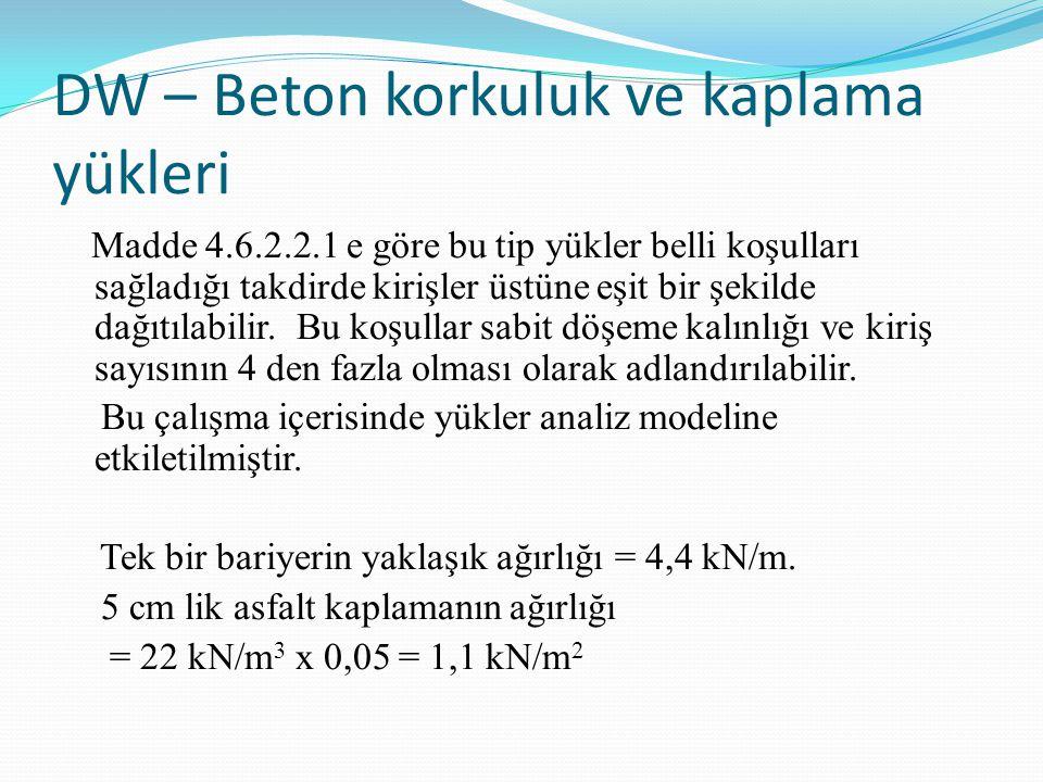 DW – Beton korkuluk ve kaplama yükleri Madde 4.6.2.2.1 e göre bu tip yükler belli koşulları sağladığı takdirde kirişler üstüne eşit bir şekilde dağıtı