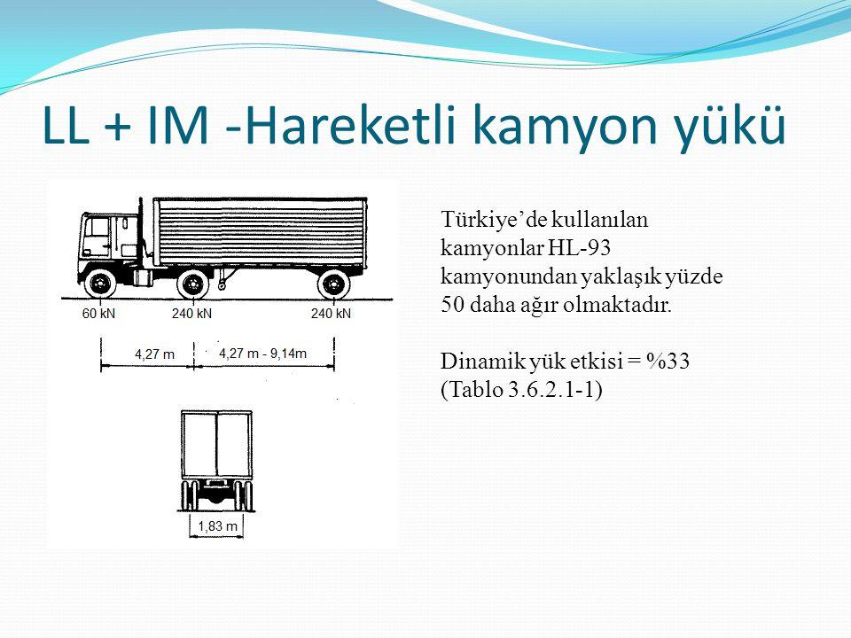LL + IM -Hareketli kamyon yükü Türkiye'de kullanılan kamyonlar HL-93 kamyonundan yaklaşık yüzde 50 daha ağır olmaktadır. Dinamik yük etkisi = %33 (Tab