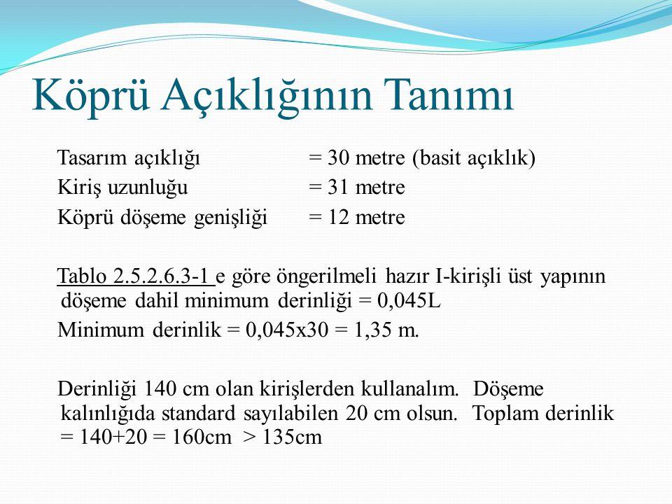 Köprü Açıklığının Tanımı Tasarım açıklığı = 30 metre (basit açıklık) Kiriş uzunluğu= 31 metre Köprü döşeme genişliği = 12 metre Tablo 2.5.2.6.3-1 e göre öngerilmeli hazır I-kirişli üst yapının döşeme dahil minimum derinliği = 0,045L Minimum derinlik = 0,045x30 = 1,35 m.
