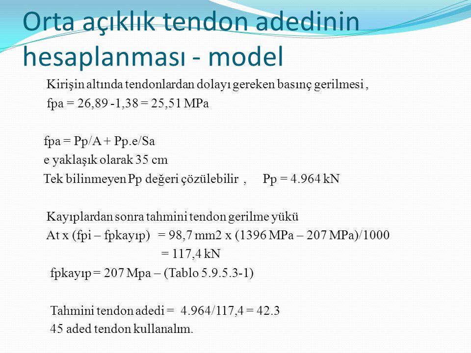 Orta açıklık tendon adedinin hesaplanması - model Kirişin altında tendonlardan dolayı gereken basınç gerilmesi, fpa = 26,89 -1,38 = 25,51 MPa fpa = Pp/A + Pp.e/Sa e yaklaşık olarak 35 cm Tek bilinmeyen Pp değeri çözülebilir, Pp = 4.964 kN Kayıplardan sonra tahmini tendon gerilme yükü At x (fpi – fpkayıp) = 98,7 mm2 x (1396 MPa – 207 MPa)/1000 = 117,4 kN fpkayıp = 207 Mpa – (Tablo 5.9.5.3-1) Tahmini tendon adedi = 4.964/117,4 = 42.3 45 aded tendon kullanalım.