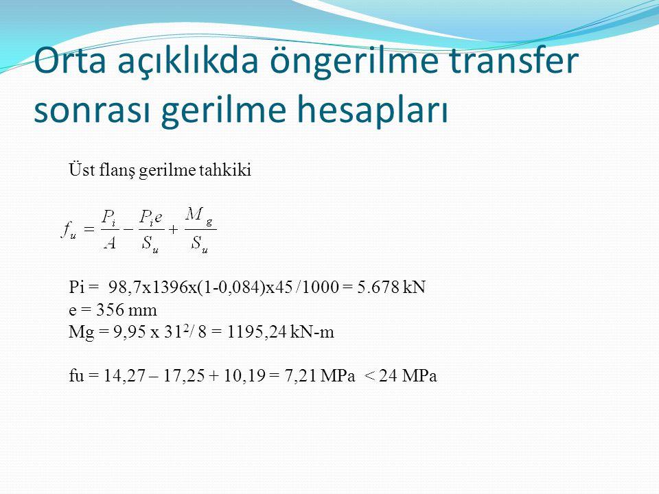 Orta açıklıkda öngerilme transfer sonrası gerilme hesapları Üst flanş gerilme tahkiki P i = 98,7x1396x(1-0,084)x45 /1000 = 5.678 kN e = 356 mm Mg = 9,95 x 31 2 / 8 = 1195,24 kN-m fu = 14,27 – 17,25 + 10,19 = 7,21 MPa < 24 MPa