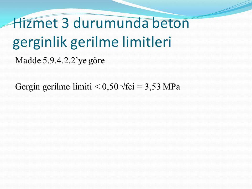 Hizmet 3 durumunda beton gerginlik gerilme limitleri Madde 5.9.4.2.2'ye göre Gergin gerilme limiti < 0,50 √fci = 3,53 MPa