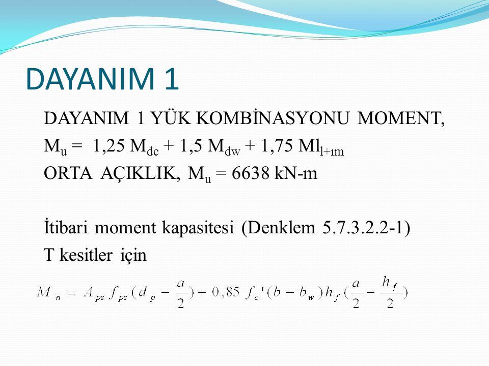 DAYANIM 1 DAYANIM 1 YÜK KOMBİNASYONU MOMENT, M u = 1,25 M dc + 1,5 M dw + 1,75 Ml l+ım ORTA AÇIKLIK, M u = 6638 kN-m İtibari moment kapasitesi (Denklem 5.7.3.2.2-1) T kesitler için