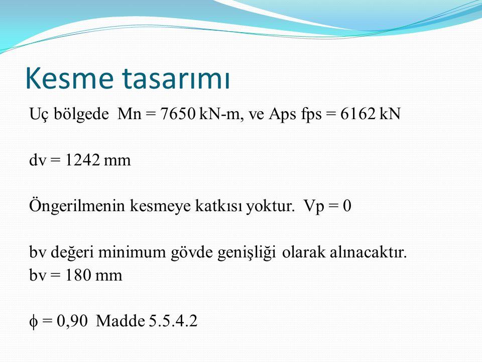 Kesme tasarımı Uç bölgede Mn = 7650 kN-m, ve Aps fps = 6162 kN dv = 1242 mm Öngerilmenin kesmeye katkısı yoktur. Vp = 0 bv değeri minimum gövde genişl