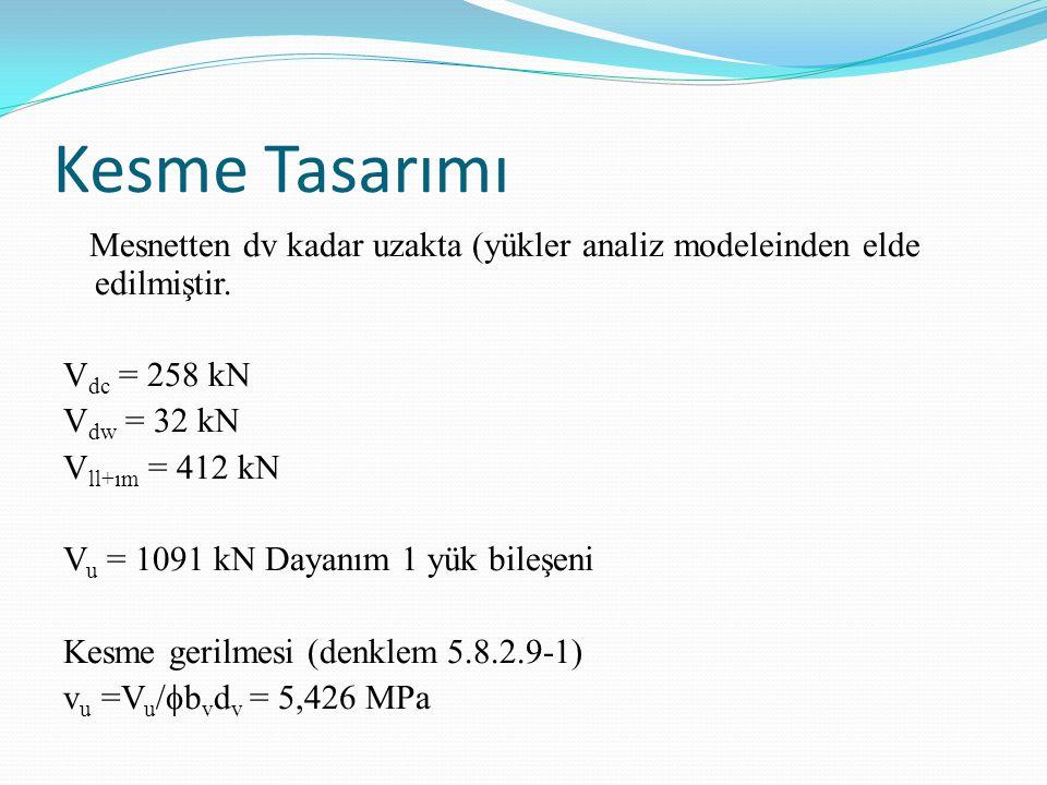 Kesme Tasarımı Mesnetten dv kadar uzakta (yükler analiz modeleinden elde edilmiştir. V dc = 258 kN V dw = 32 kN V ll+ım = 412 kN V u = 1091 kN Dayanım