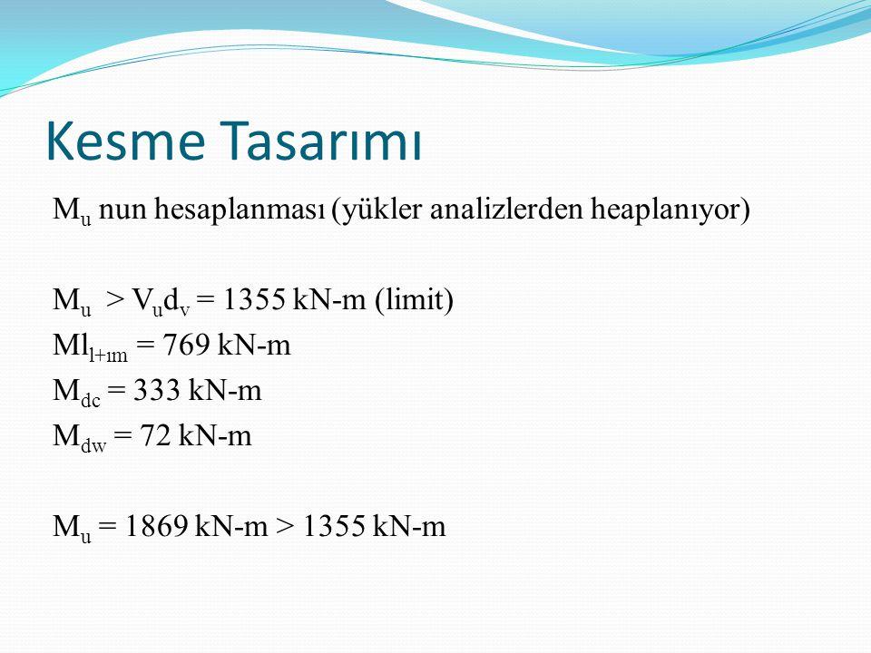 Kesme Tasarımı M u nun hesaplanması (yükler analizlerden heaplanıyor) M u > V u d v = 1355 kN-m (limit) Ml l+ım = 769 kN-m M dc = 333 kN-m M dw = 72 kN-m M u = 1869 kN-m > 1355 kN-m