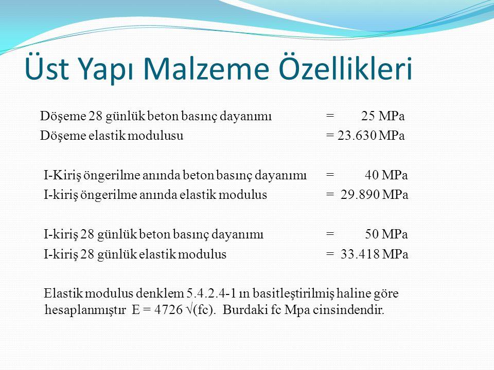 Üst Yapı Malzeme Özellikleri Döşeme 28 günlük beton basınç dayanımı = 25 MPa Döşeme elastik modulusu = 23.630 MPa I-Kiriş öngerilme anında beton basınç dayanımı = 40 MPa I-kiriş öngerilme anında elastik modulus= 29.890 MPa I-kiriş 28 günlük beton basınç dayanımı = 50 MPa I-kiriş 28 günlük elastik modulus= 33.418 MPa Elastik modulus denklem 5.4.2.4-1 ın basitleştirilmiş haline göre hesaplanmıştır E = 4726 √(fc).