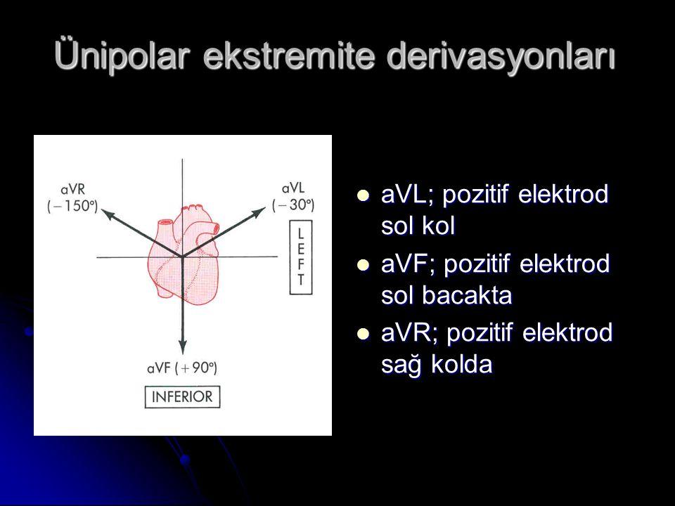 Ünipolar ekstremite derivasyonları  aVL; pozitif elektrod sol kol  aVF; pozitif elektrod sol bacakta  aVR; pozitif elektrod sağ kolda