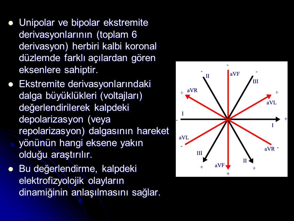  Unipolar ve bipolar ekstremite derivasyonlarının (toplam 6 derivasyon) herbiri kalbi koronal düzlemde farklı açılardan gören eksenlere sahiptir.  E