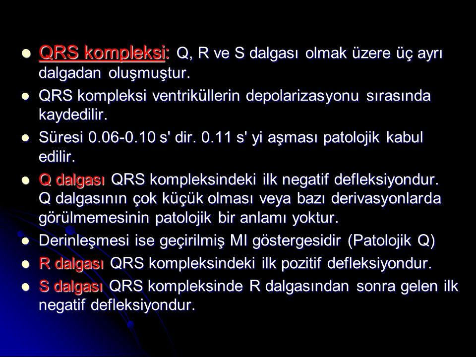 QRS kompleksi: Q, R ve S dalgası olmak üzere üç ayrı dalgadan oluşmuştur.  QRS kompleksi: Q, R ve S dalgası olmak üzere üç ayrı dalgadan oluşmuştur