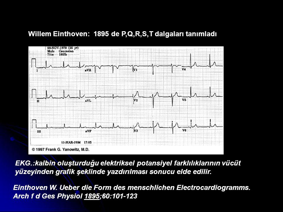 Einthoven W. Ueber die Form des menschlichen Electrocardiogramms. Arch f d Ges Physiol 1895;60:101-123 Willem Einthoven: 1895 de P,Q,R,S,T dalgaları t