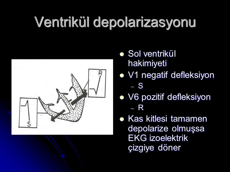 Ventrikül depolarizasyonu  Sol ventrikül hakimiyeti  V1 negatif defleksiyon – S  V6 pozitif defleksiyon – R  Kas kitlesi tamamen depolarize olmuşs