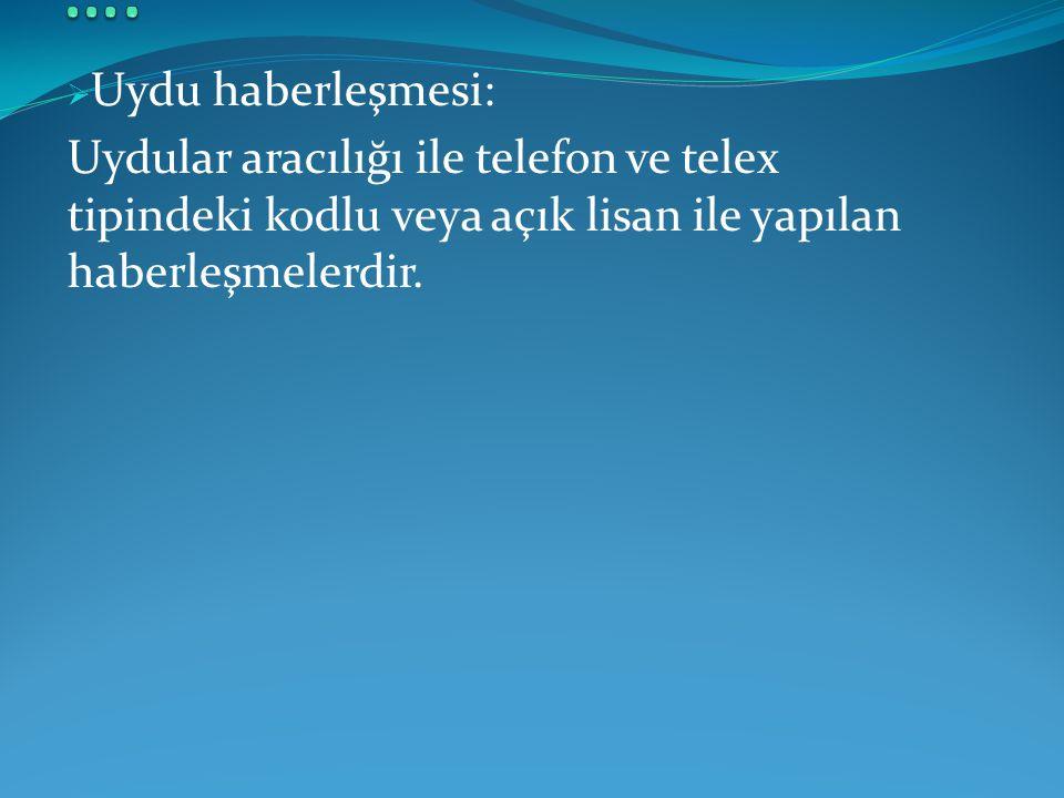  Uydu haberleşmesi: Uydular aracılığı ile telefon ve telex tipindeki kodlu veya açık lisan ile yapılan haberleşmelerdir.