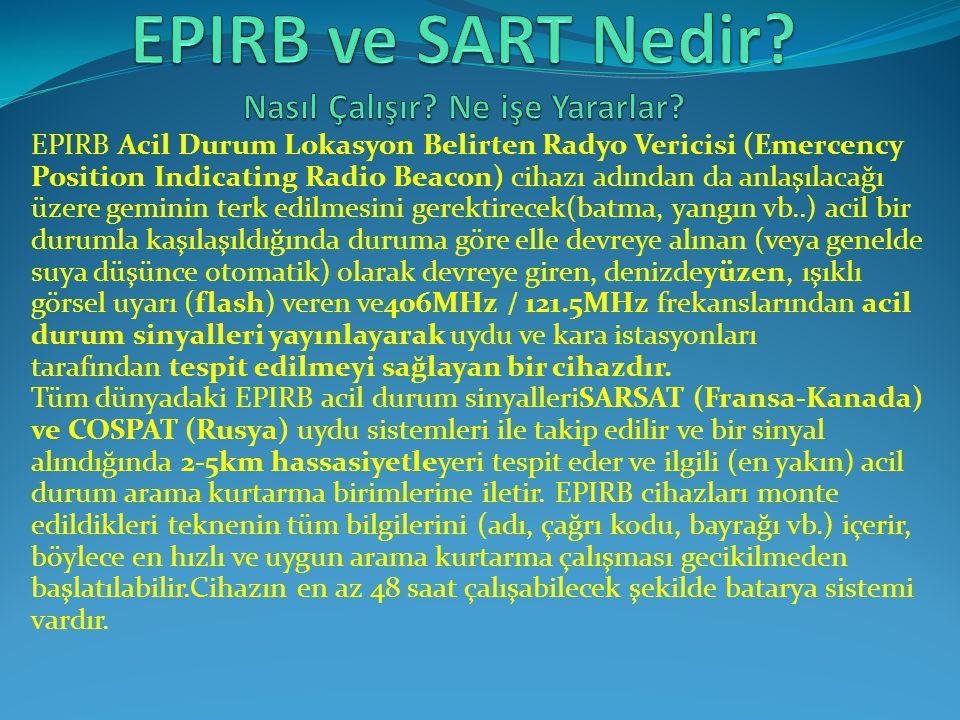 EPIRB Acil Durum Lokasyon Belirten Radyo Vericisi (Emercency Position Indicating Radio Beacon) cihazı adından da anlaşılacağı üzere geminin terk edilm