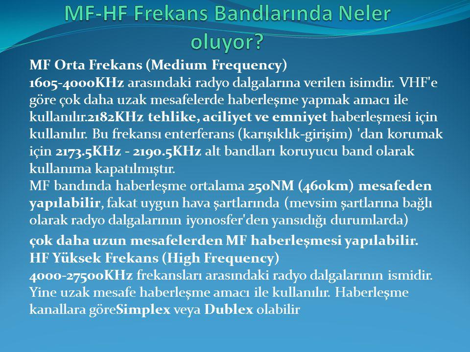 MF Orta Frekans (Medium Frequency) 1605-4000KHz arasındaki radyo dalgalarına verilen isimdir. VHF'e göre çok daha uzak mesafelerde haberleşme yapmak a
