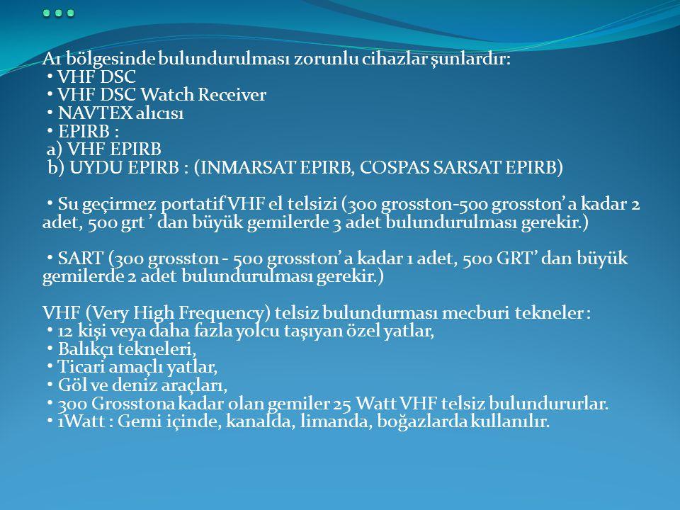 A1 bölgesinde bulundurulması zorunlu cihazlar şunlardır: • VHF DSC • VHF DSC Watch Receiver • NAVTEX alıcısı • EPIRB : a) VHF EPIRB b) UYDU EPIRB : (I
