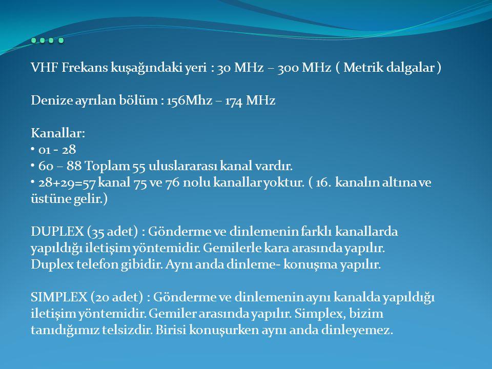 VHF Frekans kuşağındaki yeri : 30 MHz – 300 MHz ( Metrik dalgalar ) Denize ayrılan bölüm : 156Mhz – 174 MHz Kanallar: • 01 - 28 • 60 – 88 Toplam 55 ul