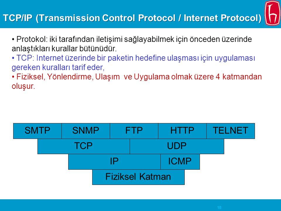 18 TCP/IP (Transmission Control Protocol / Internet Protocol) • Protokol: iki tarafından iletişimi sağlayabilmek için önceden üzerinde anlaştıkları ku