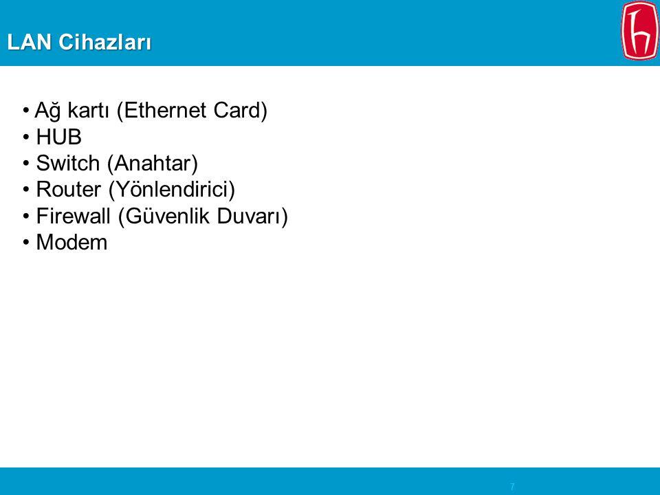 7 LAN Cihazları • Ağ kartı (Ethernet Card) • HUB • Switch (Anahtar) • Router (Yönlendirici) • Firewall (Güvenlik Duvarı) • Modem