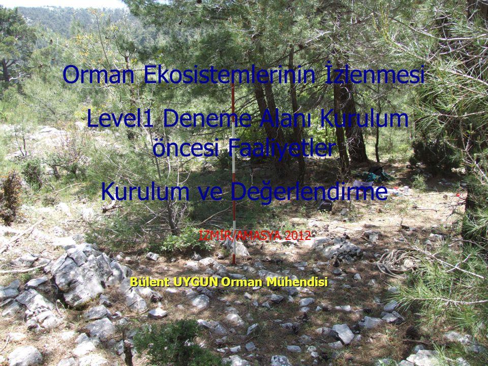 Orman Ekosistemlerinin İzlenmesi Level1 Deneme Alanı Kurulum öncesi Faaliyetler Kurulum ve Değerlendirme Bülent UYGUN Orman Mühendisi İZMİR/AMASYA 201