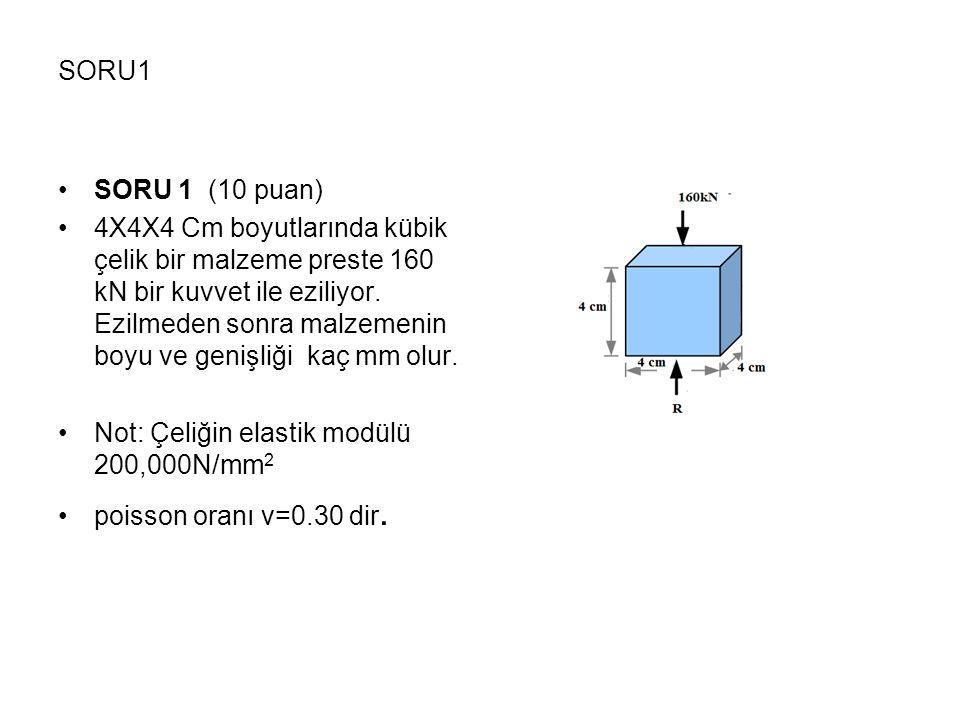 SORU1 •SORU 1 (10 puan) •4X4X4 Cm boyutlarında kübik çelik bir malzeme preste 160 kN bir kuvvet ile eziliyor. Ezilmeden sonra malzemenin boyu ve geniş